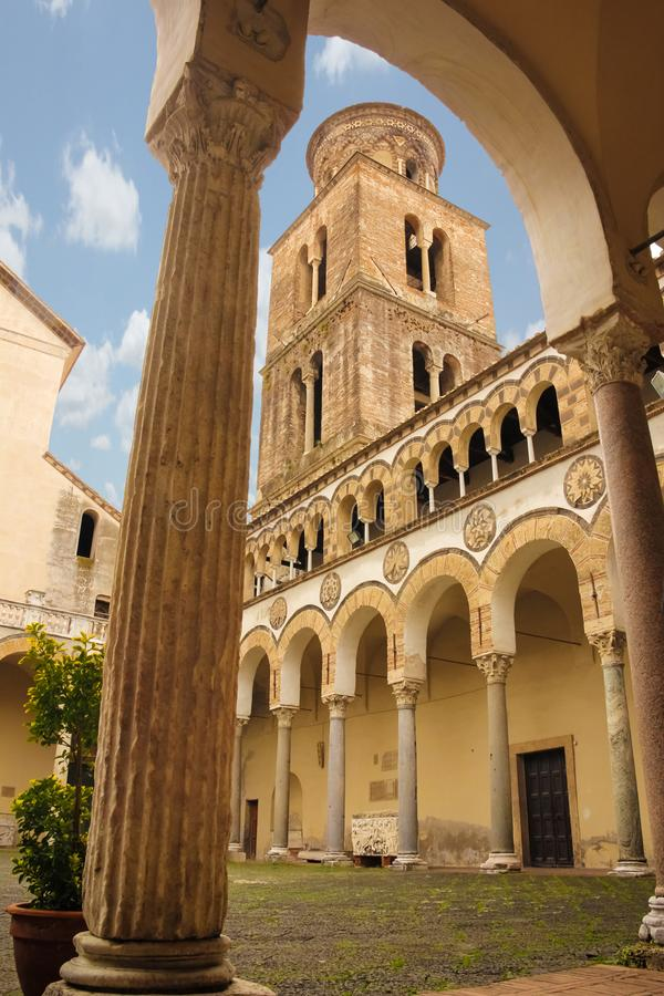 Cloister and bell tower. Cathedral, Salerno. Italy. Cloister and romanesque bell tower in St Matthew `s Cathedral, Salerno. Italy stock images