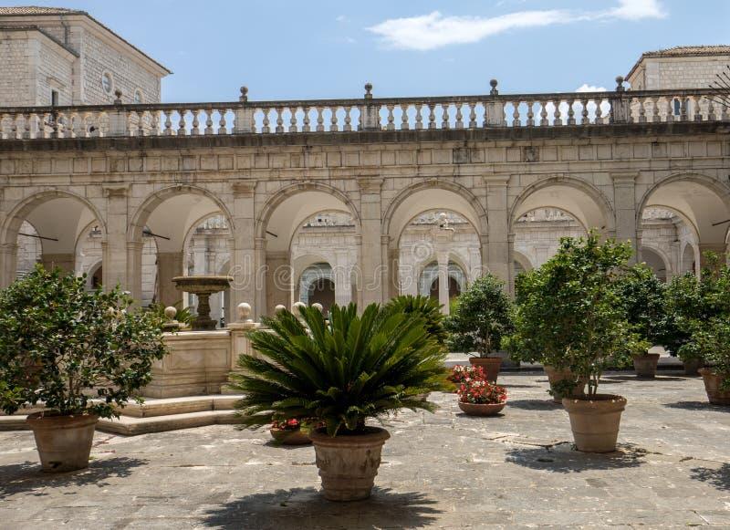 Cloister of Benedictine abbey of Montecassino. stock photography