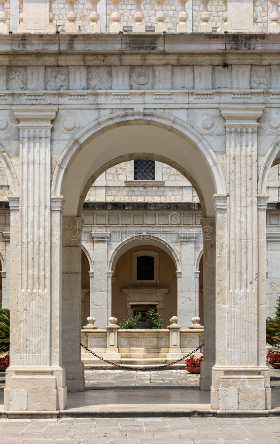 Cloister of Benedictine abbey of Montecassino. royalty free stock photography