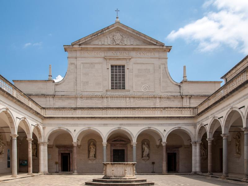 Cloister of Benedictine abbey of Montecassino. stock images