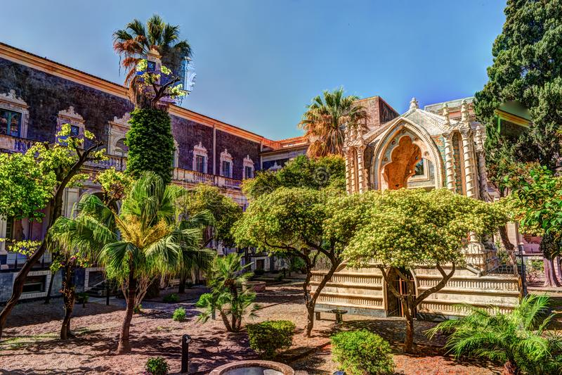 Cloister of the Benedictine Monastery of San Nicolo l`Arena in Catania, stock photo