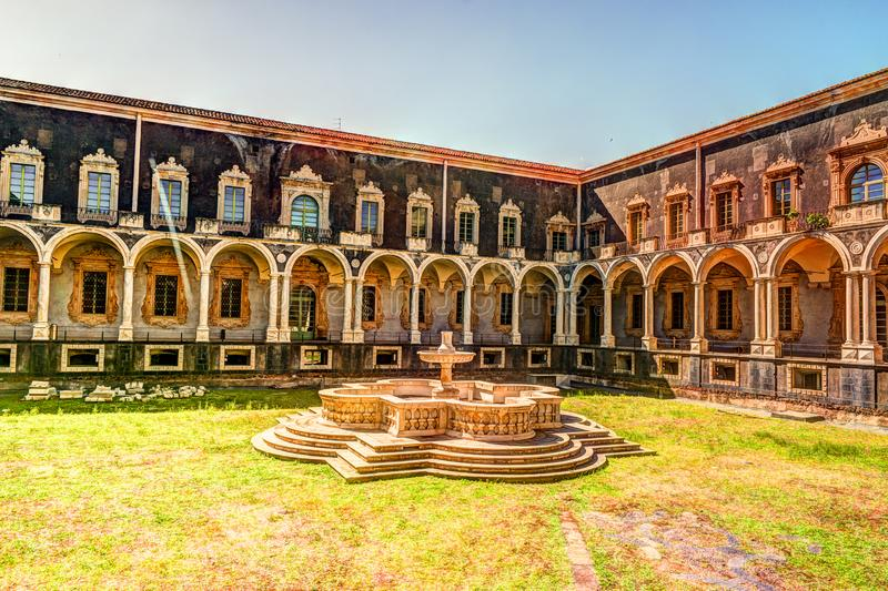 Cloister of the Benedictine Monastery of San Nicolo l`Arena in Catania, royalty free stock images