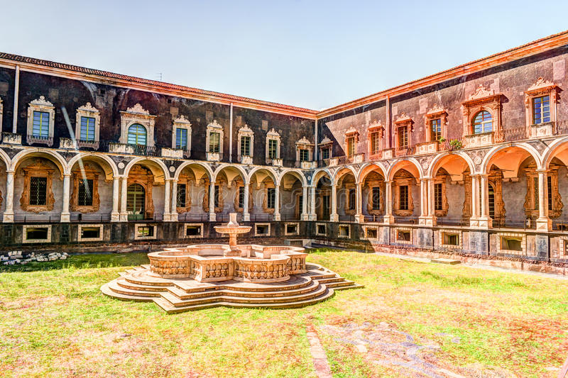 Cloister of the Benedictine Monastery of San Nicolo l`Arena in Catania, stock photos