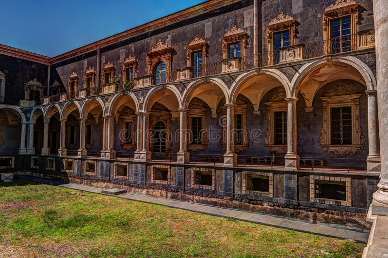 Cloister of the Benedictine Monastery of San Nicolo l`Arena in Catania, stock image