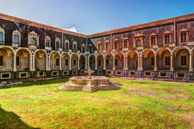 Cloister of the Benedictine Monastery of San Nicolo l`Arena in Catania, royalty free stock photos