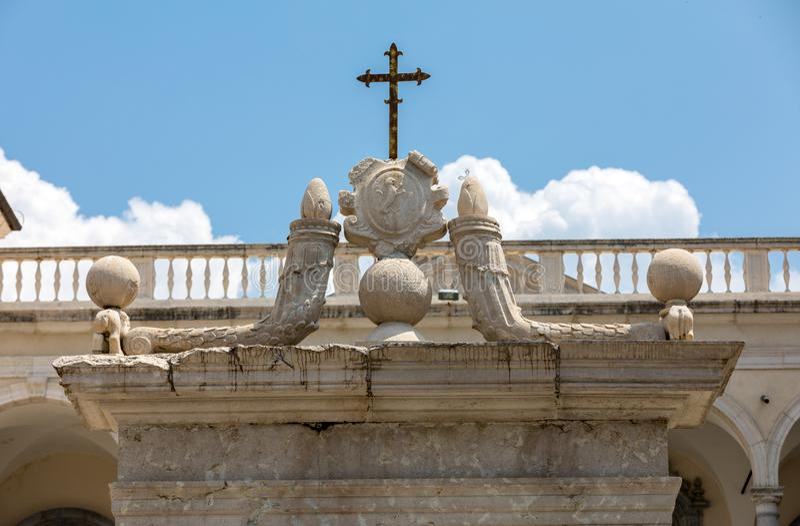 The Cloister of Bramante, Benedictine abbey of Montecassino. stock photo