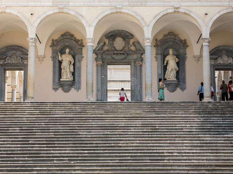 The Cloister of Bramante, Benedictine abbey of Montecassino. Italy royalty free stock photos