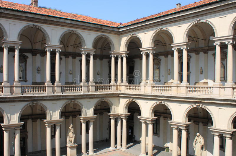 Cloister of Brera Palace royalty free stock photo