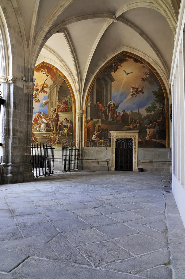 Cloister of Cathedral of Toledo. The cloister of the cathedral of Toledo; the Santa Maria (Saint Mary) de Toledo. It is one of the largest cathedrals of Spain stock image
