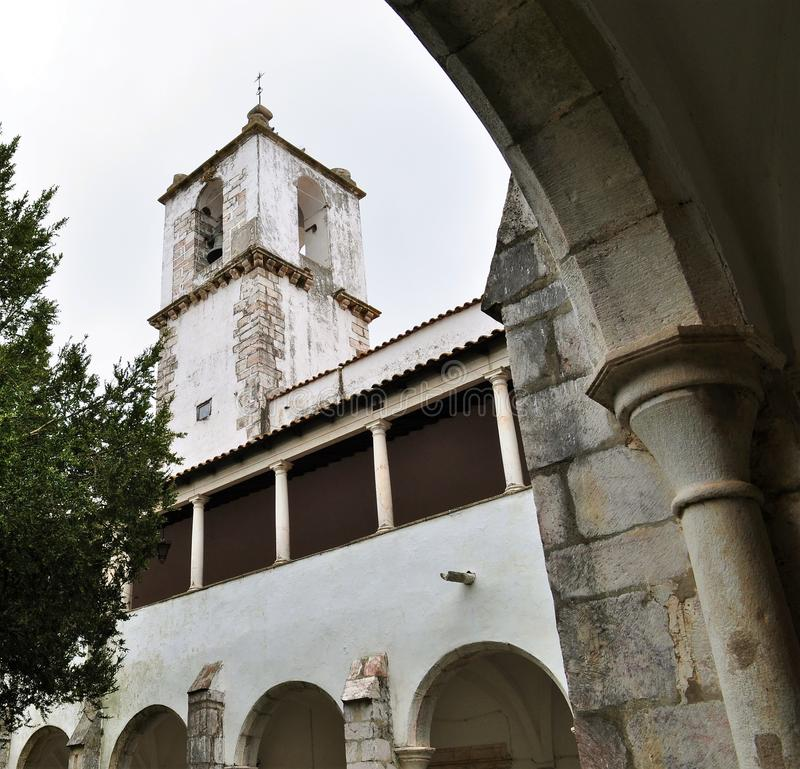 The cloister and the church tower stock image