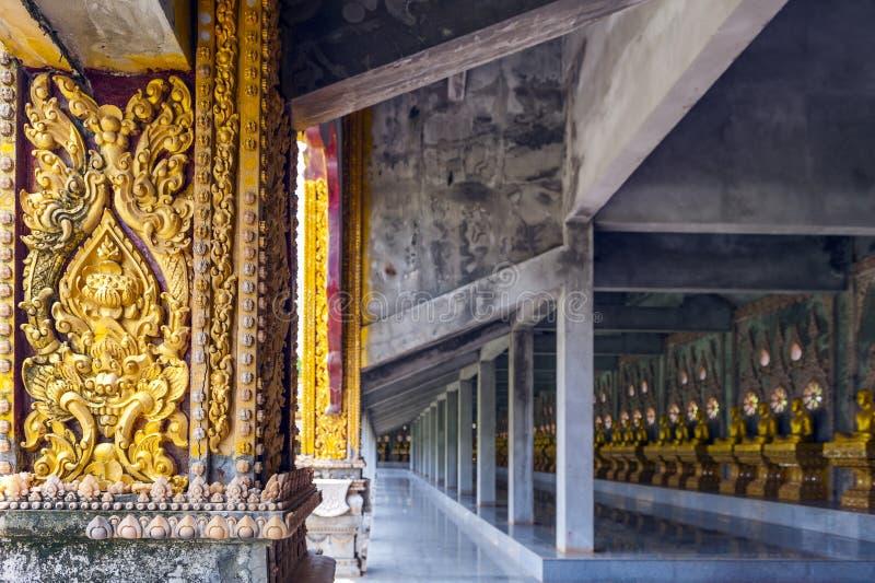 Cloister column decoration at Phra Maha Chedi Chai Mongkol in Roi Et province, northeastern Thailand. Cloister column decoration at Phra Maha Chedi Chai Mongkol royalty free stock images