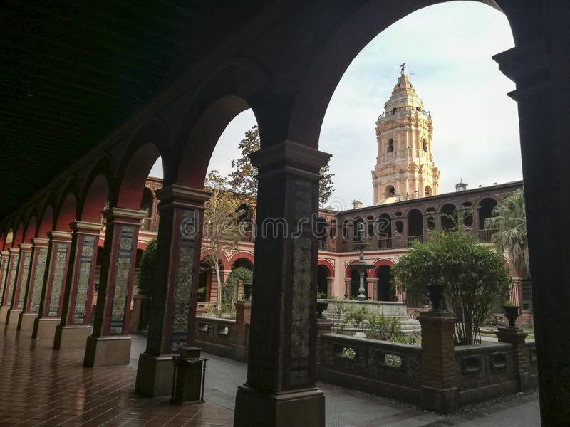Cloister in Convent of Santo Domingo, Lima, Peru. Colonial stock photo