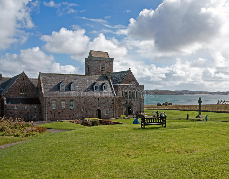 Cloister Iona Abbey. At the scotish island iona stock photo