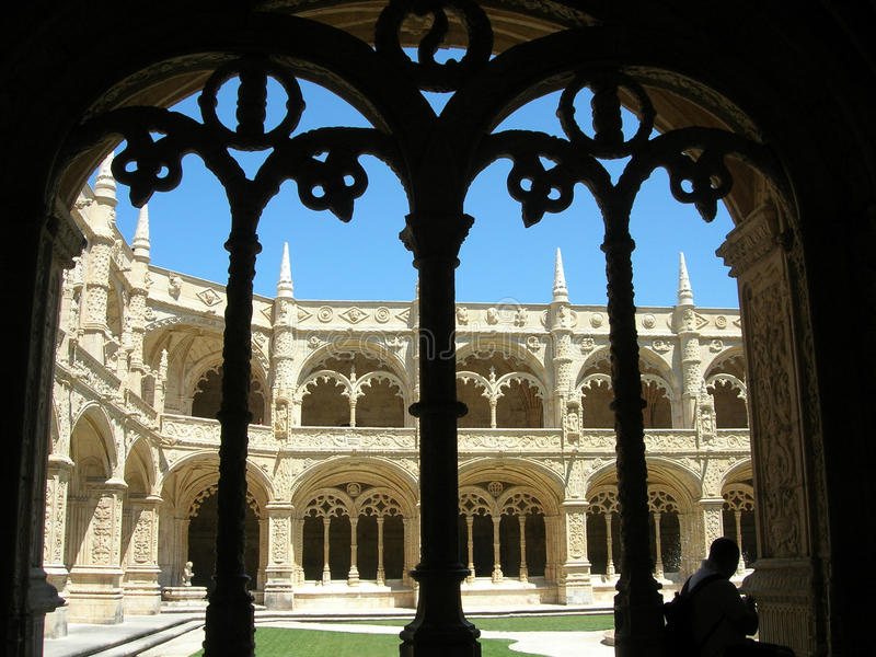 Cloister of the monastery of Belem (Portugal). stock photos