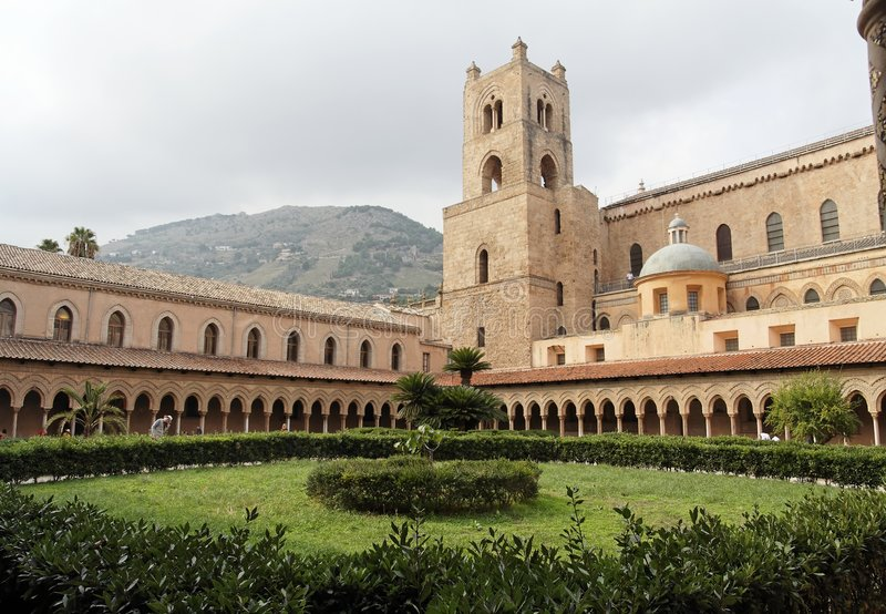 Cloister of Monreale Cathedral royalty free stock photos
