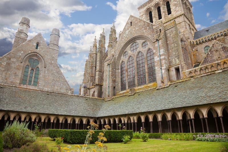 Cloister of Mont Saint Michel, France stock images