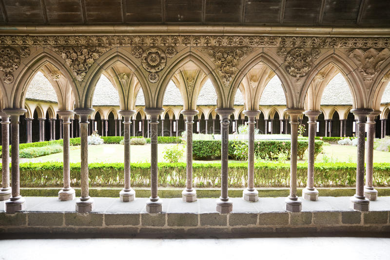 Download Cloister Of Mont St. Michel Stock Photo - Image of sanctuary, mont: 10869128