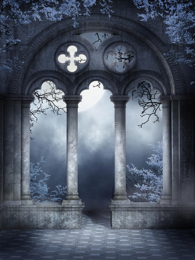 Download Cloister ruins with vines stock illustration. Illustration of gothic - 19399763