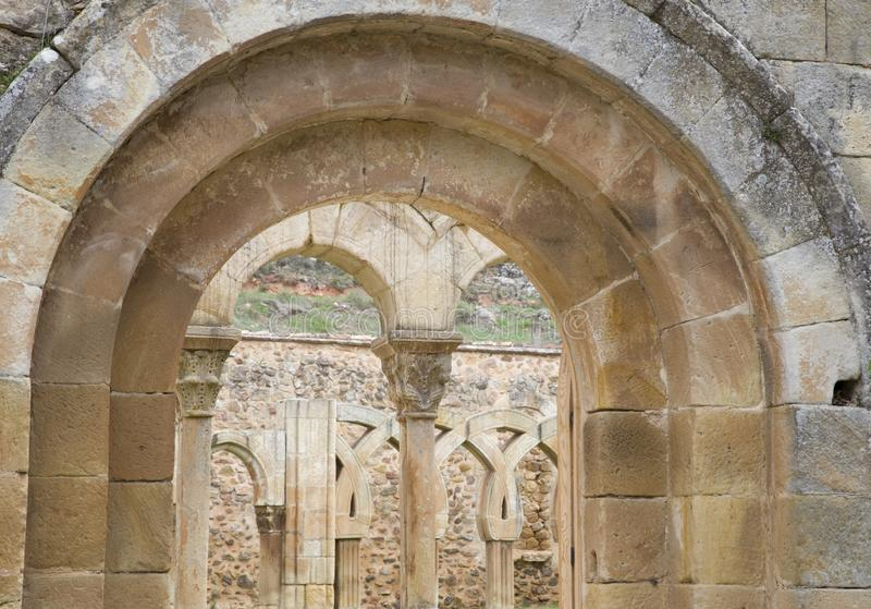 Cloister of San Juan de Duero Monastery in Soria stock photos