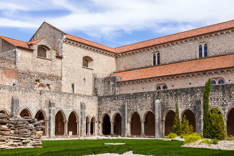 Cloister of the Sao Francisco Convent. Santarem, Portugal. September 9, 2015: Cloister of the Sao Francisco Convent. 13th century Mendicant Gothic Architecture royalty free stock photos