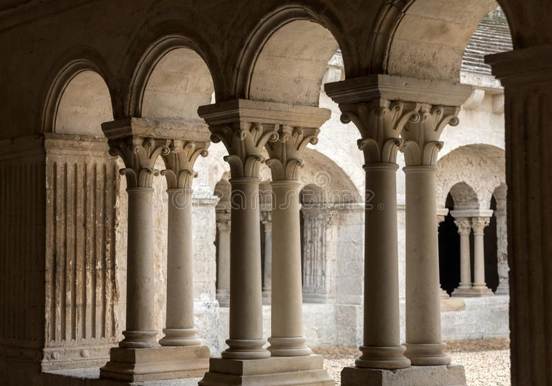 Cloisters in the Abbey of St. Peter in Montmajour near Arles,. France royalty free stock photography