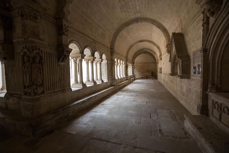 Cloisters in the Abbey of St. Peter in Montmajour near Arles,. France stock photography