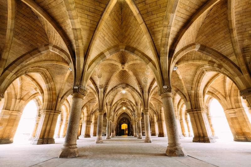 The Cloisters also known as The Undercroft - iconic part of th. Glasgow, Scotland, UK – March 13, 2018:The Cloisters also known as The Undercroft - iconic royalty free stock photo