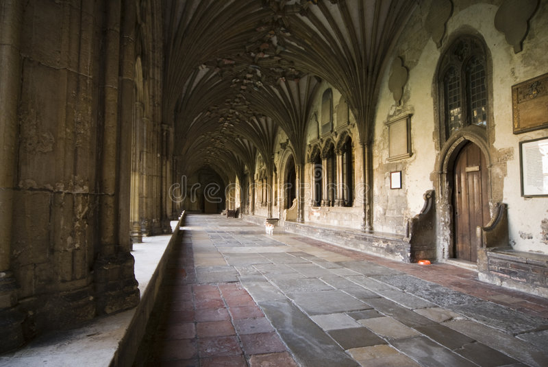 Cloisters at Canterbury Cathedral. A wide angle shot of the cloisters at Canterbury Cathedral royalty free stock photo