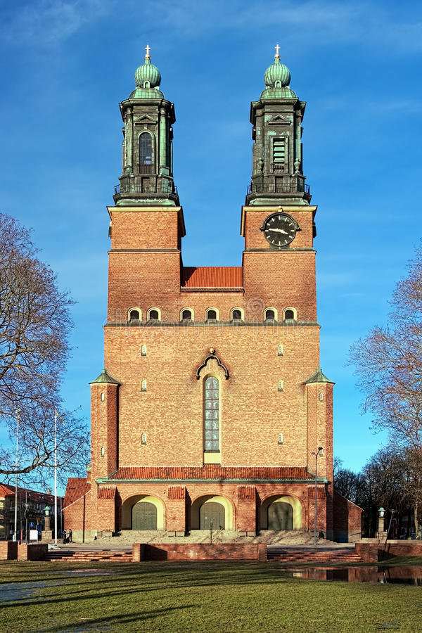 Cloisters Church (Klosters kyrka) in Eskilstuna. At evening, Sweden stock photography