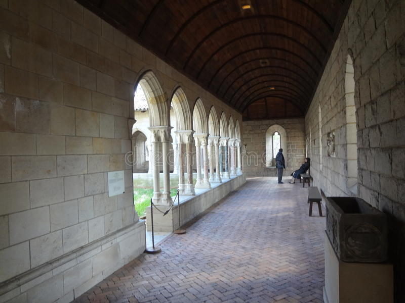 The Cloisters Museum And Garden 278. He art and architecture of medieval Europe, was assembled from architectural elements, both domestic and religious, that royalty free stock image
