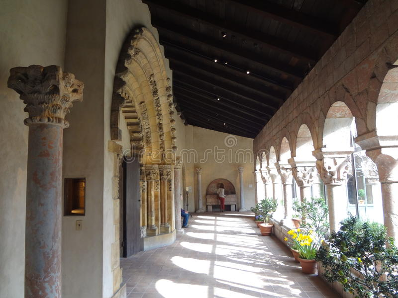 The Cloisters Museum And Garden 281. He art and architecture of medieval Europe, was assembled from architectural elements, both domestic and religious, that royalty free stock image