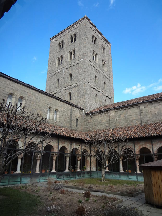 The Cloisters Museum And Garden 302. He art and architecture of medieval Europe, was assembled from architectural elements, both domestic and religious, that royalty free stock photo