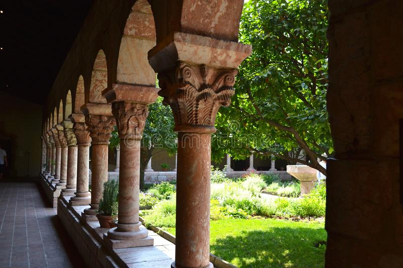 The Cloisters NYC. Arches in the inner garden at the Cloisters museum in New York City royalty free stock image