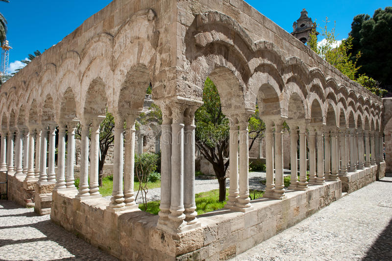 Cloisters San Giovanni Palermo. Cloisters of the church of San Giovanni in Palermo, Sicily, Italy. Ancient carved marble columns stock photography