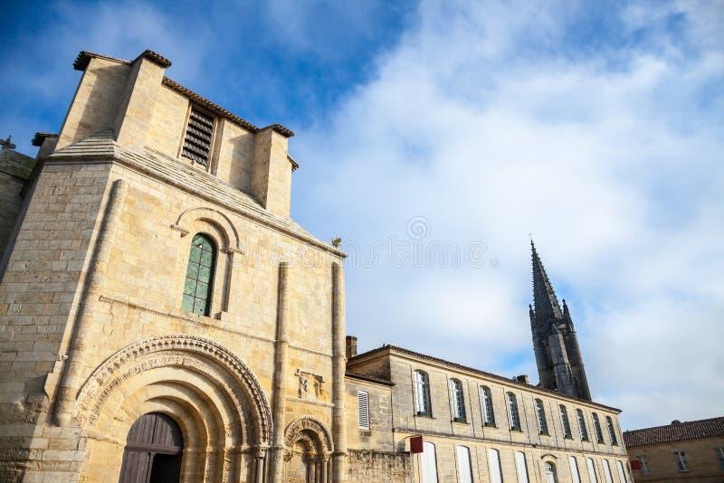 Cloitre des Cordeliers Cordeliers修道院入口在市圣Emilion,在法国 库存照片