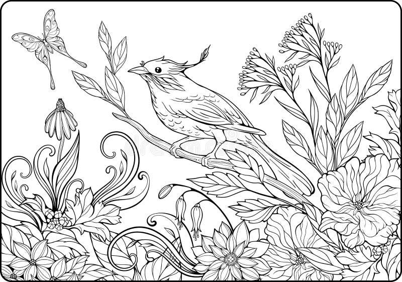 Cloloring-Seite mit Vogel auf einer Niederlassung und vielen Blumen vektor abbildung