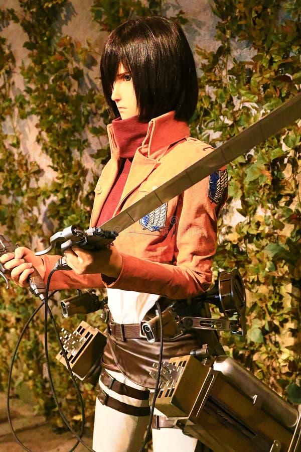 Clone-oid of Mikasa Ackerman from Shingeki no Kyoji. Osaka, Japan - Feb 12 2016:Attack on Titan at Universal Studios japan,Clone-oid of Mikasa Ackerman from stock images