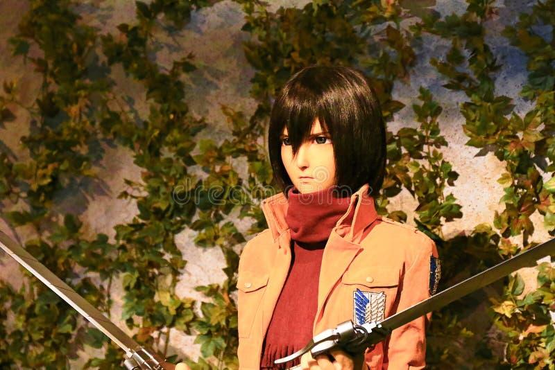 Clone-oid of Mikasa Ackerman from Shingeki no Kyojin. Osaka, Japan - Feb 12 2016:Attack on Titan at Universal Studios japan,Clone-oid of Mikasa Ackerman from royalty free stock photography