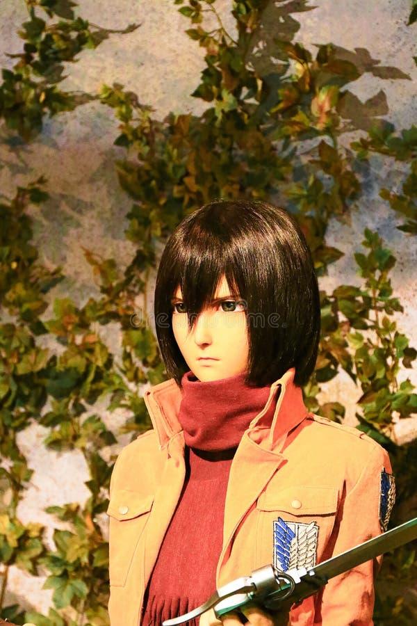 Clone-oid of Mikasa Ackerman from Shingeki no Kyojin. Osaka, Japan - Feb 12 2016:Attack on Titan at Universal Studios japan,Clone-oid of Mikasa Ackerman from stock images