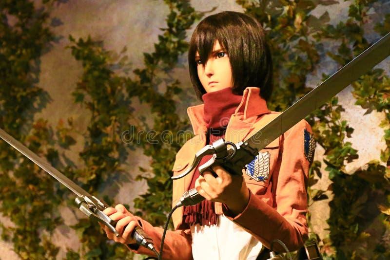 Clone-oid of Mikasa Ackerman from Shingeki no Kyojin. Osaka, Japan - Feb 12 2016:Attack on Titan at Universal Studios japan,Clone-oid of Mikasa Ackerman from stock photos