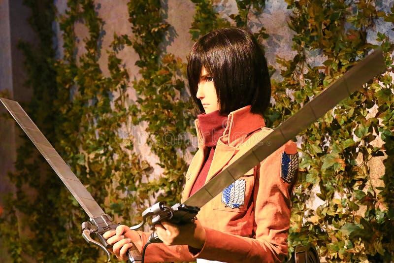Clone-oid of Mikasa Ackerman from Shingeki no Kyojin. Osaka, Japan - Feb 12 2016:Attack on Titan at Universal Studios japan,Clone-oid of Mikasa Ackerman from royalty free stock photo