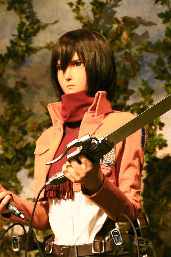 Clone-oid of Mikasa Ackerman from Shingeki no Kyojin. Osaka, Japan - Feb 12 2016:Attack on Titan at Universal Studios japan,Clone-oid of Mikasa Ackerman from royalty free stock images