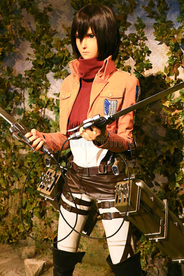 Clone-oid of Mikasa Ackerman from Shingeki no Kyojin. Osaka, Japan - Feb 12 2016:Attack on Titan at Universal Studios japan,Clone-oid of Mikasa Ackerman from stock image