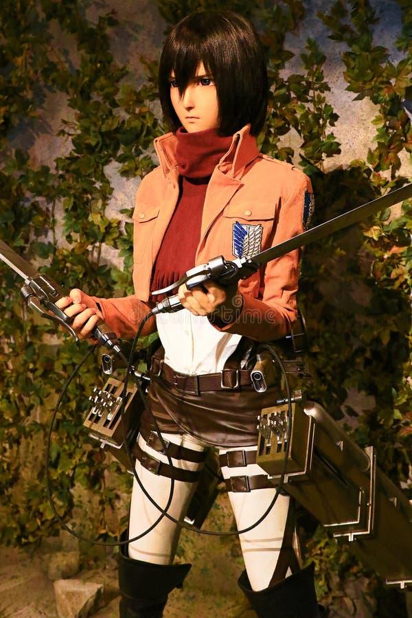 Clone-oid of Mikasa Ackerman from Shingeki no Kyojin. Osaka, Japan - Feb 12 2016:Attack on Titan at Universal Studios japan,Clone-oid of Mikasa Ackerman from royalty free stock image