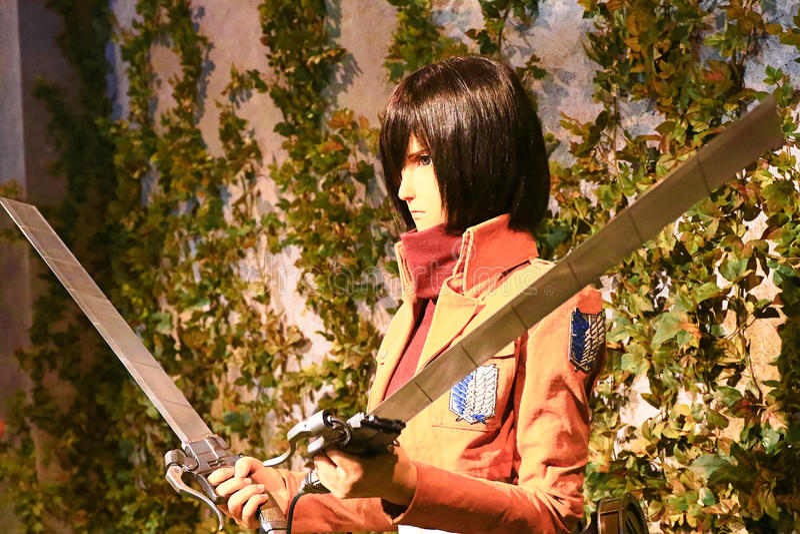 Clone-oid of Mikasa Ackerman from Shingeki no Kyojin. Osaka, Japan - Feb 12 2016:Attack on Titan at Universal Studios japan,Clone-oid of Mikasa Ackerman from royalty free stock photos