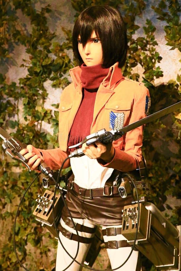 Clone-oid of Mikasa Ackerman from Shingeki no Kyojin. Osaka, Japan - Feb 12 2016:Attack on Titan at Universal Studios japan,Clone-oid of Mikasa Ackerman from stock photo