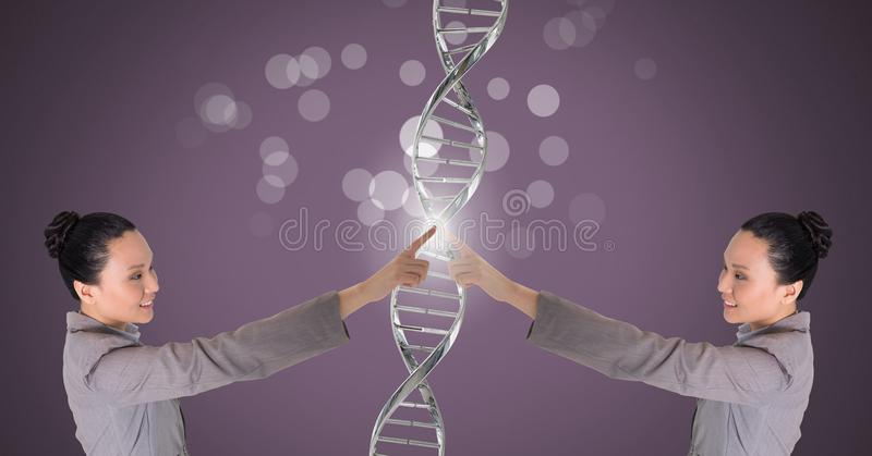 Clone twin woman touching herself with genetic DNA and sparkles stock photos