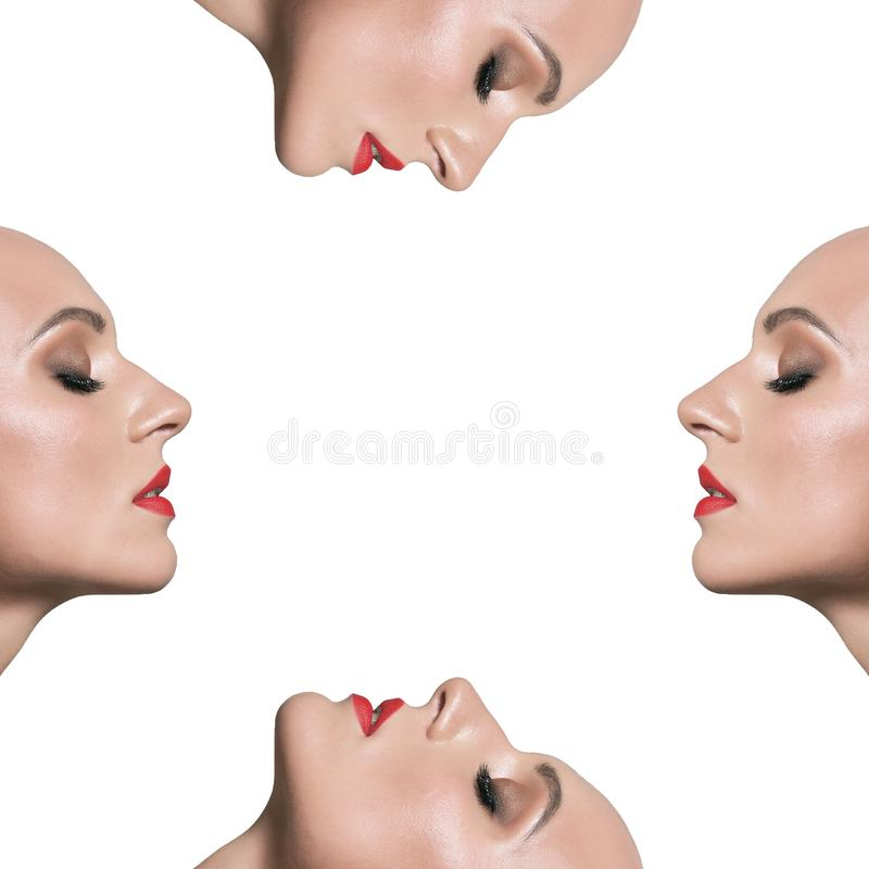 Clone of a woman on a white background. Mask. The man in profile stock image