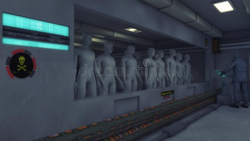 Clones d'humain dans la chambre futuriste illustration stock