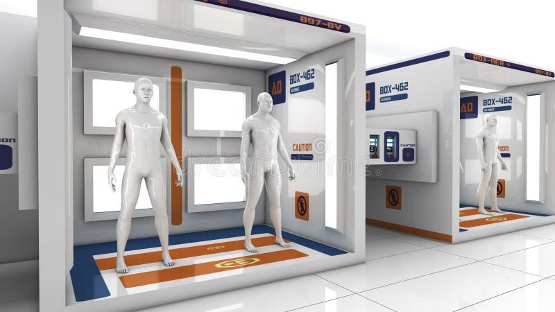 Clones d'humain dans la chambre futuriste illustration de vecteur